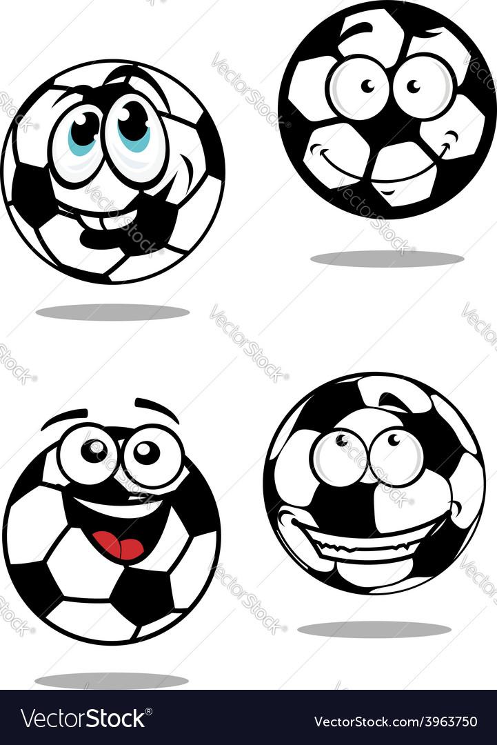 Cartoon soccer balls characters vector image