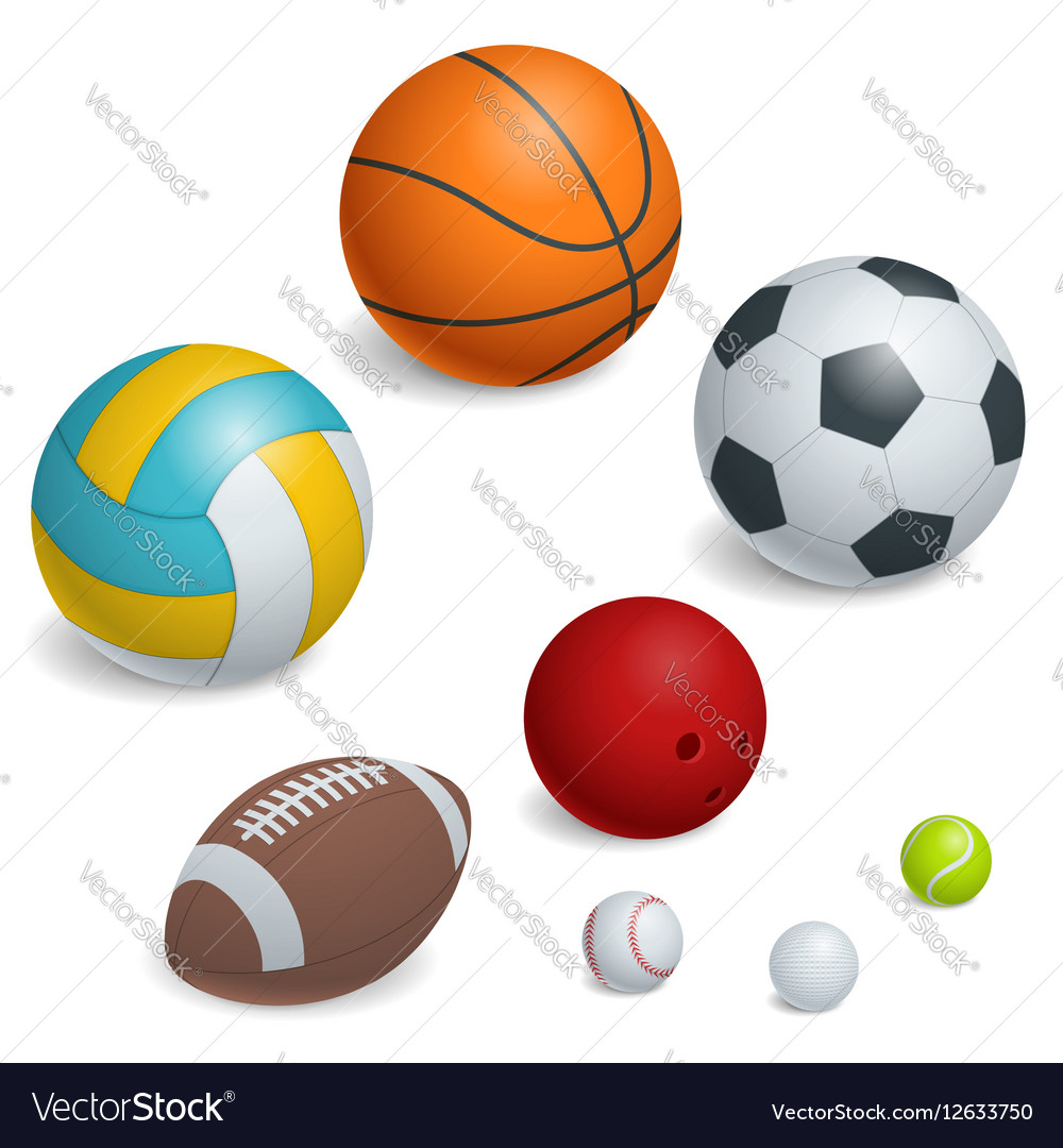 Isometric Sports Balls Set vector image