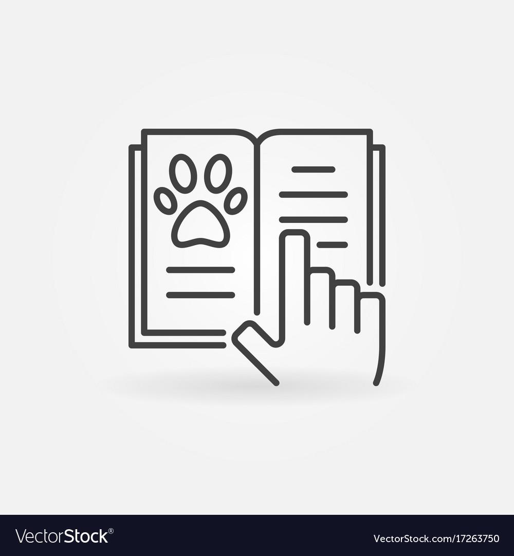 Veterinary medicine book icon vector image