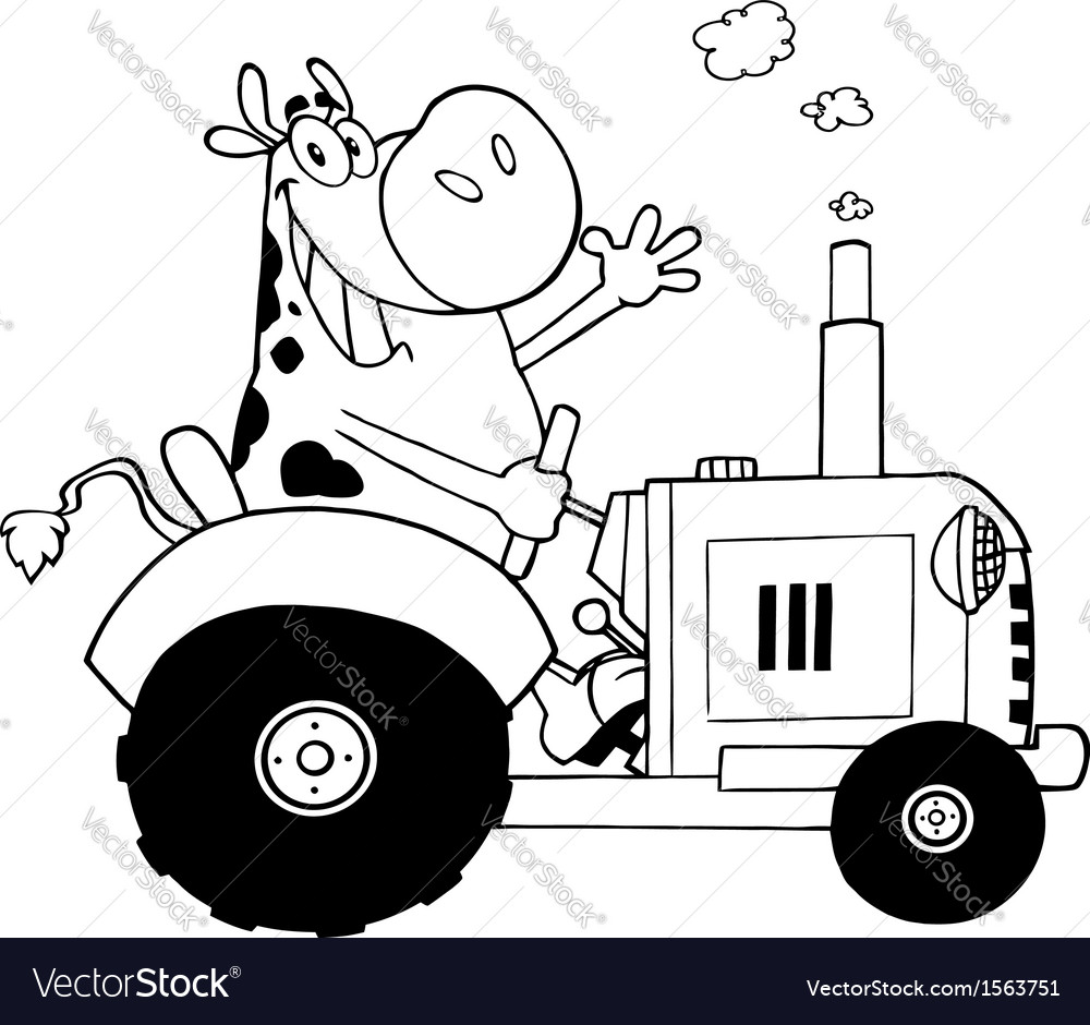 cartoon cow on tractor royalty free vector image