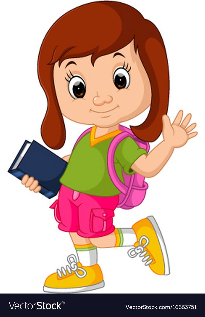 Cute Girl Go To School Cartoon Royalty Free Vector Image-3185