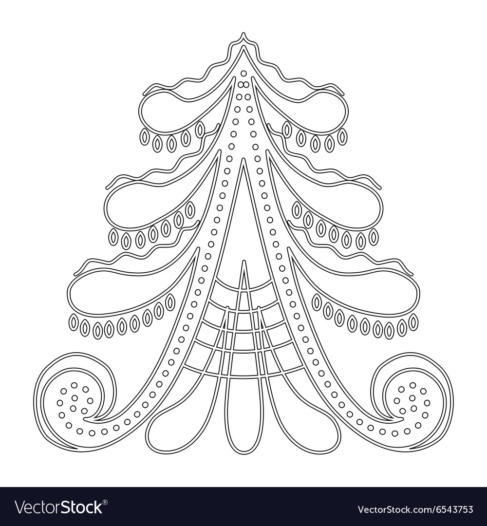 Christmas Tree Pattern For Coloring Book Vector Image
