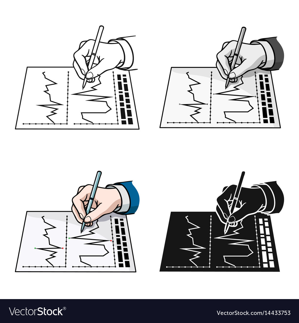 Financial graphic icon in cartoon style isolated vector image