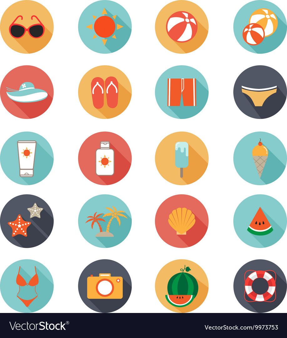 Flat icons collection with long shadow of summer vector image