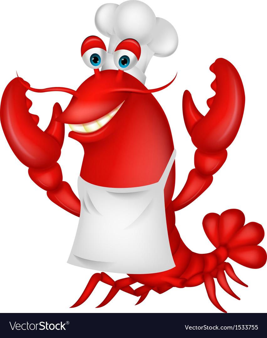 Cute lobster chef cartoon vector image
