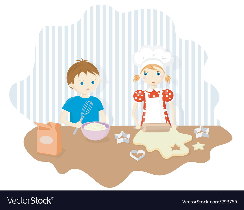 Boy and girl baking cookies vector image