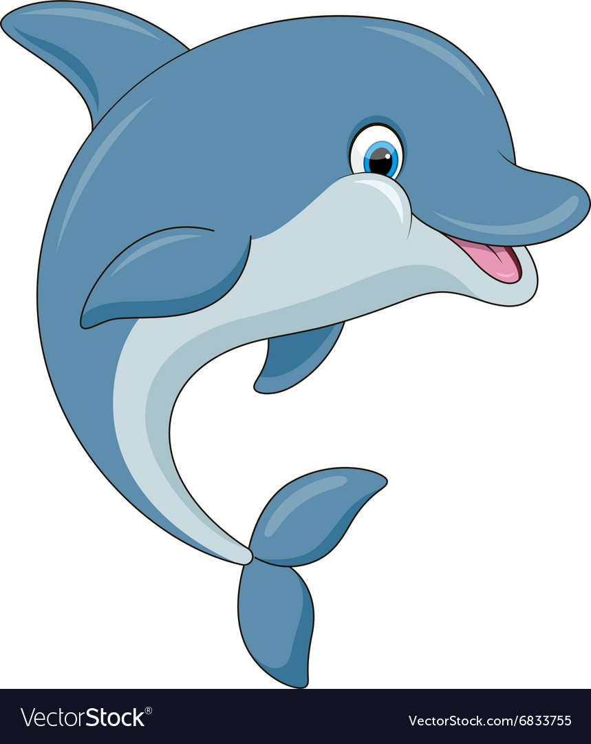 Cute cartoon dolphin vector image