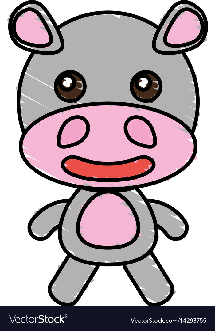 Drawing hippo animal character vector image