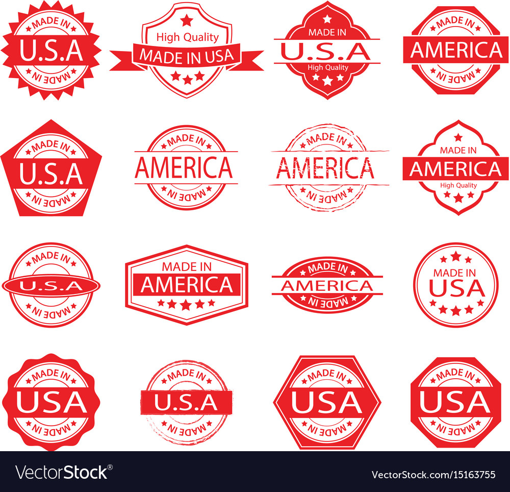 Made in america label set 02 vector image