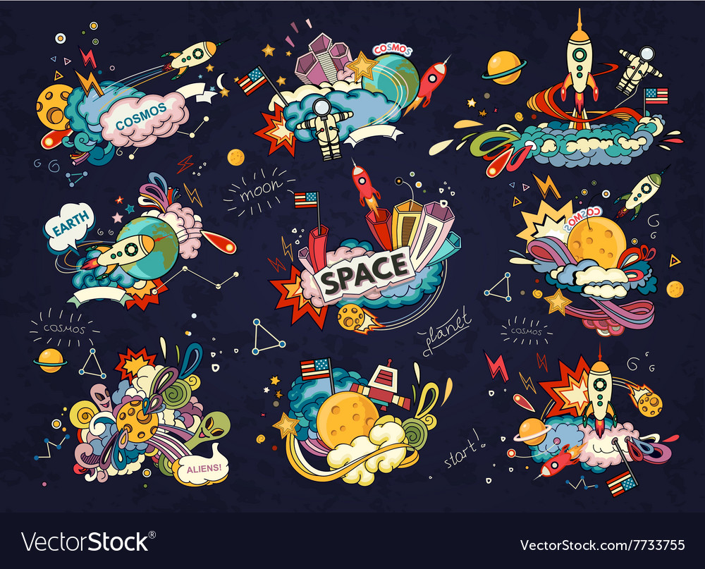 Space cartoon style vector image