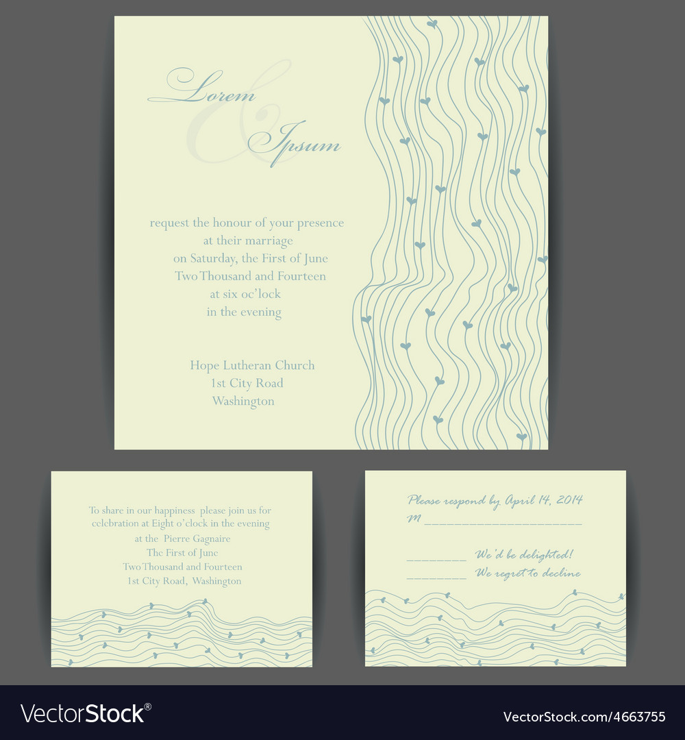 Wedding invitation card with floral elements vector image wedding invitation card with floral elements vector image stopboris Image collections