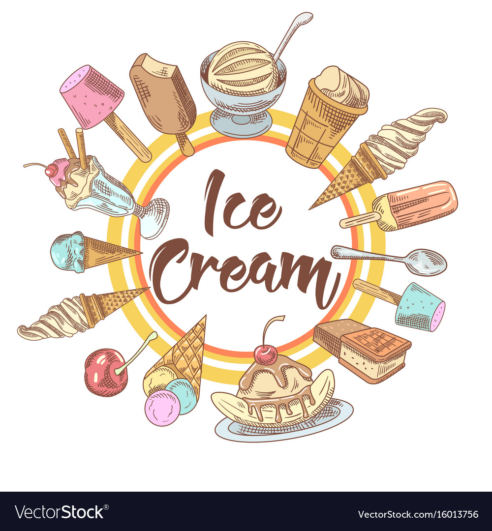 Ice cream and cold desserts hand drawn background vector image