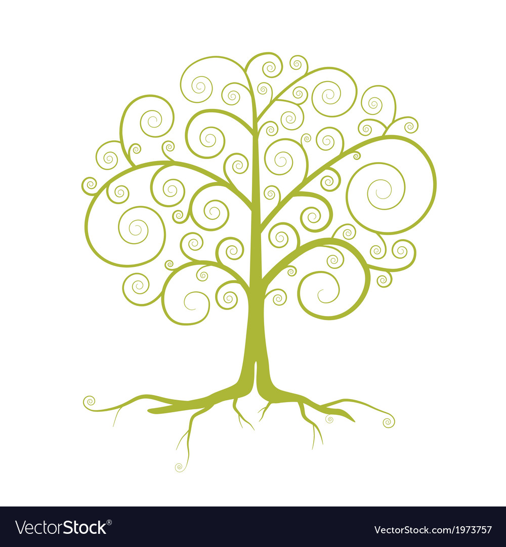 Abstract Green Tree Isolated on White Backgr vector image
