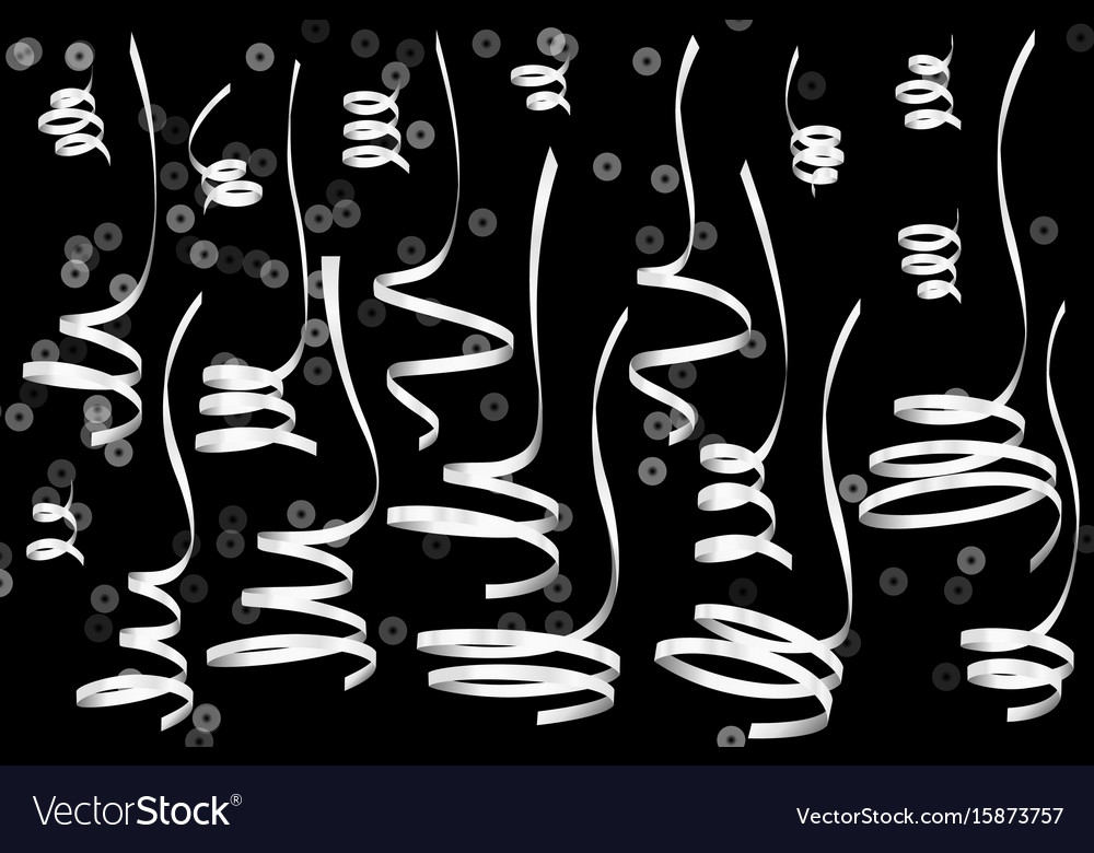 Set of realistic silver serpentine ribbons vector image