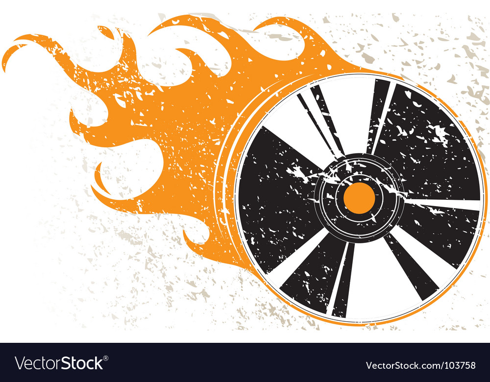 Grunge compact disk with flames vector image
