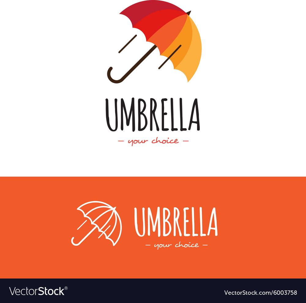 Colorful orange and red umbrella logo Cute vector image
