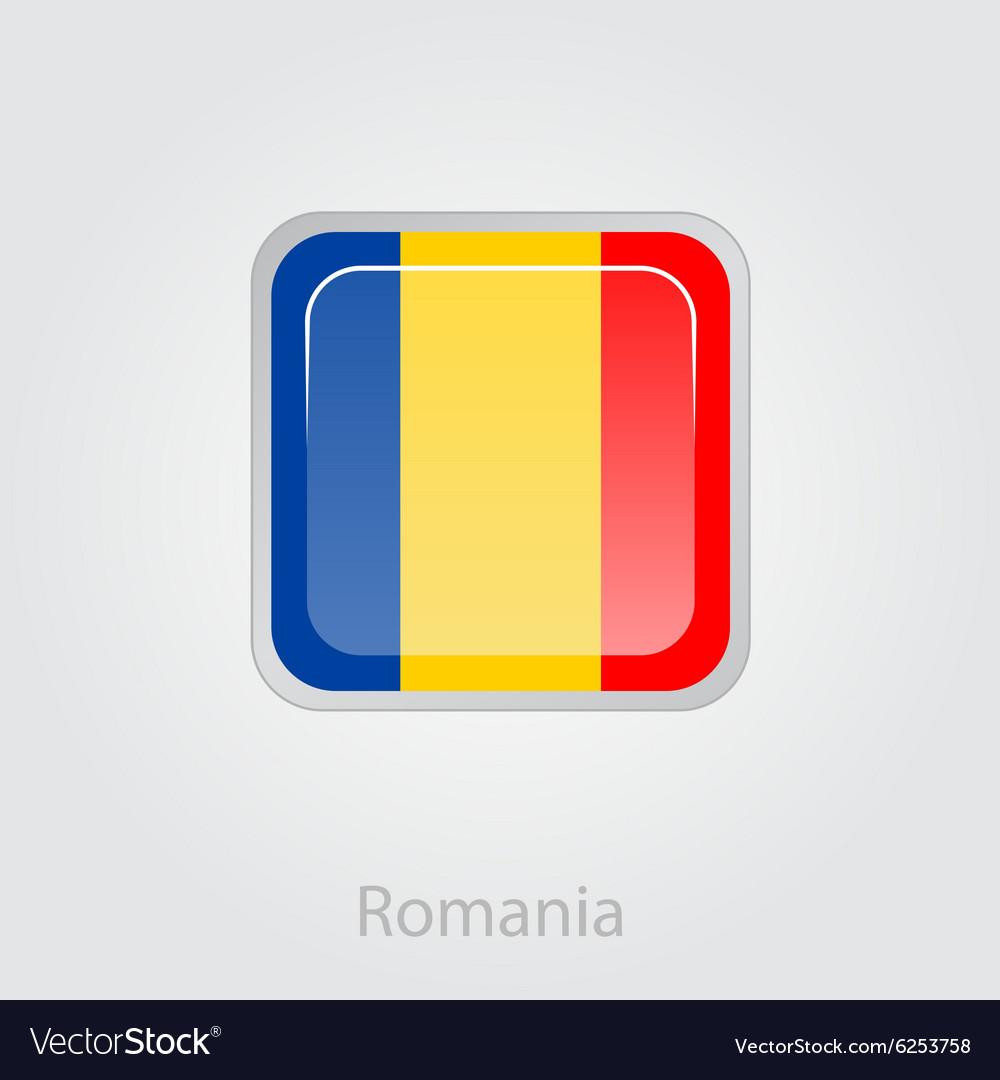 Romanian flag button vector image