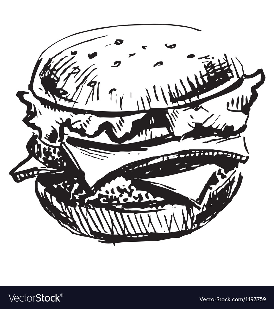 Delicious juicy burger vector image