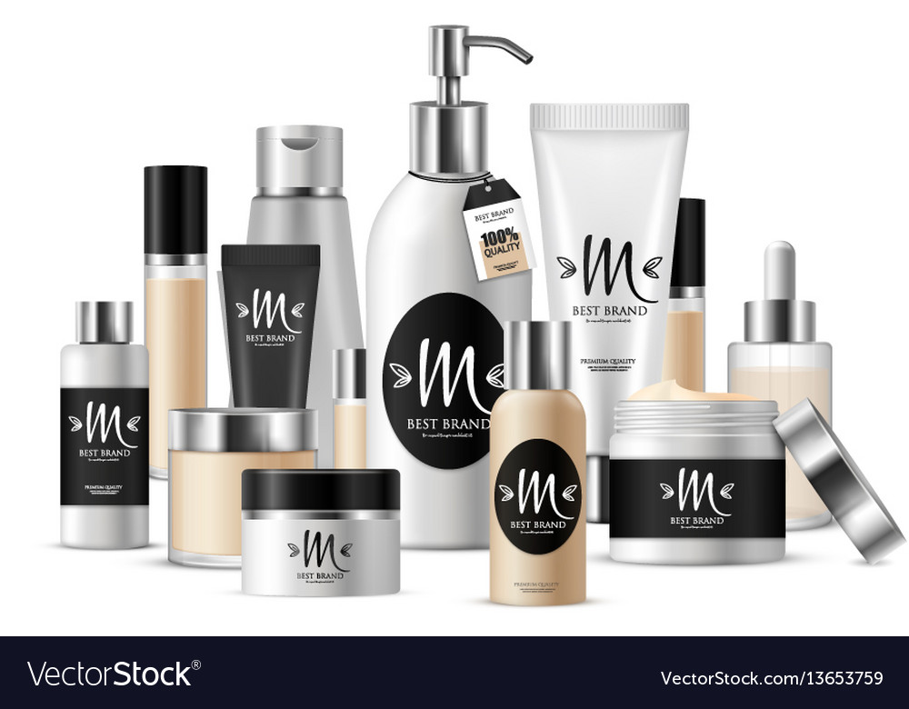 Cosmetic template composition vector image