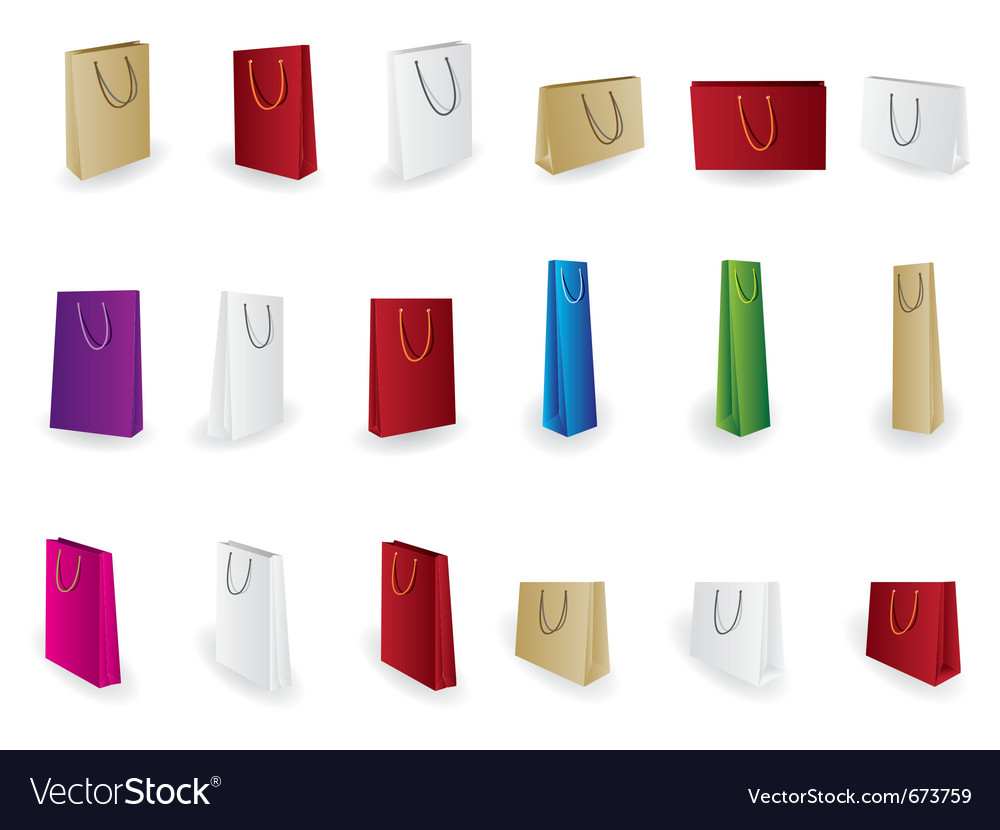 Different kind of shopping bag icons vector image