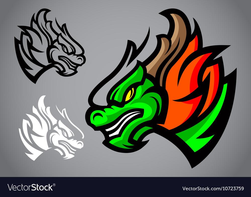 Dragon green head emblem logo vector image