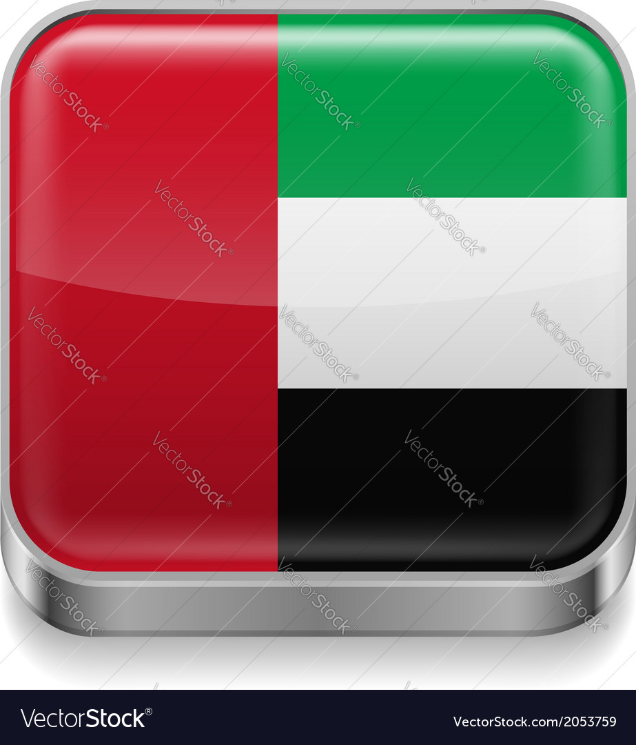 Metal icon of United Arab Emirates vector image