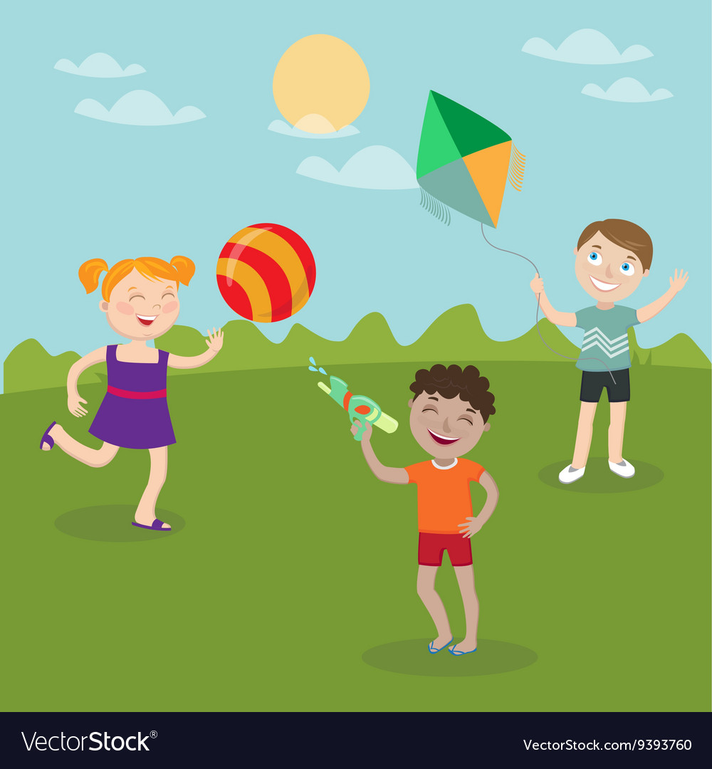 Happy Children Playing on the Nature vector image