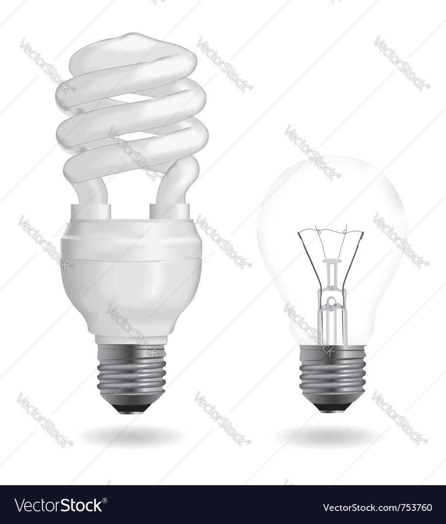Incandescent and fluorescent light bulbs vector image