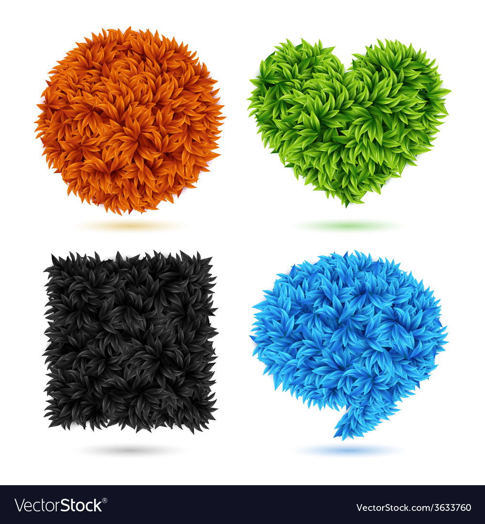 Set of shapes made of leaves vector image
