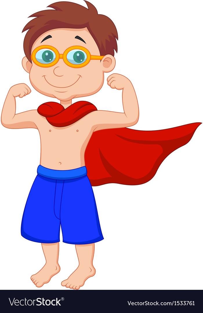 Boy cartoon pretending to be a Super Hero vector image