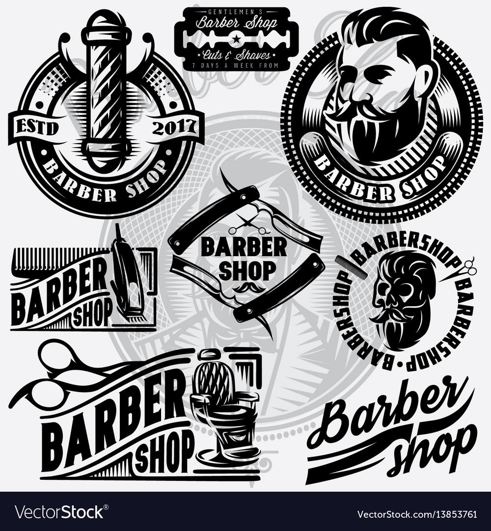 Set of templates for barbershop barbershop logo vector image
