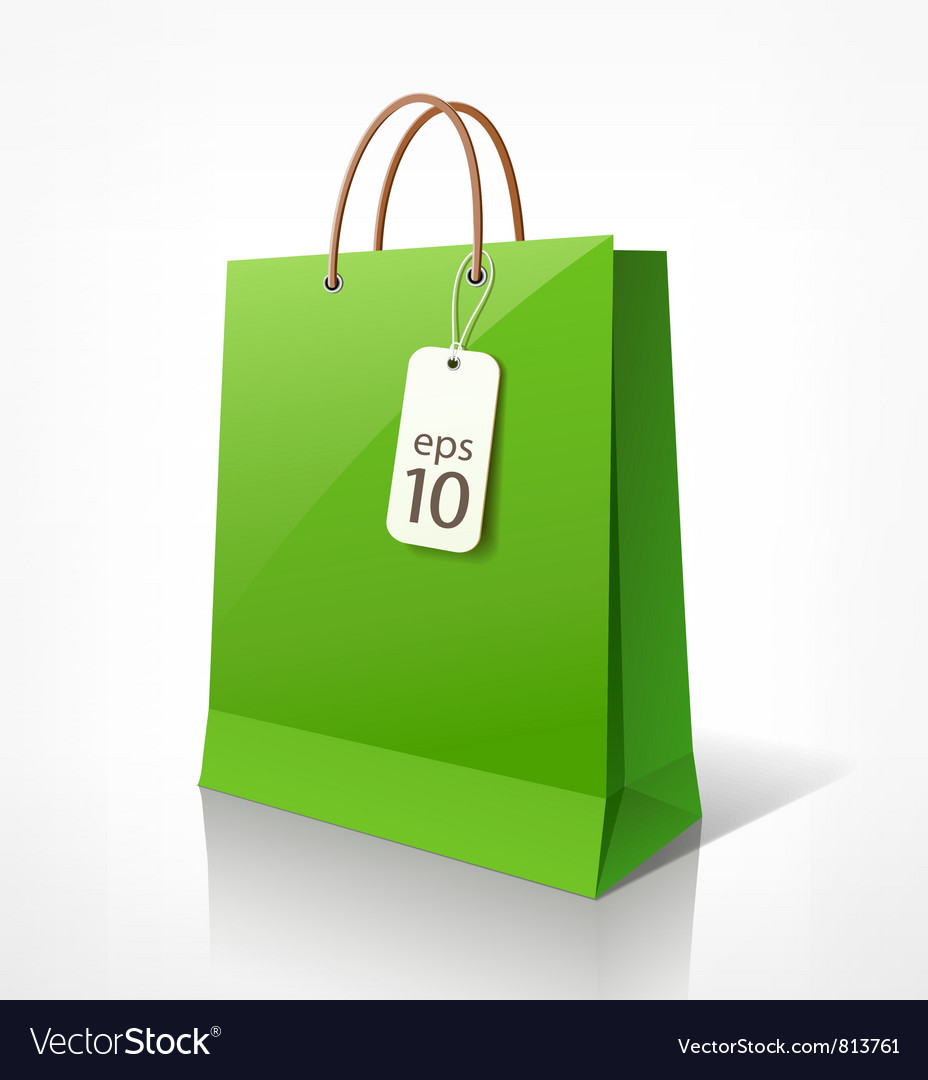 Shopping green bag vector image