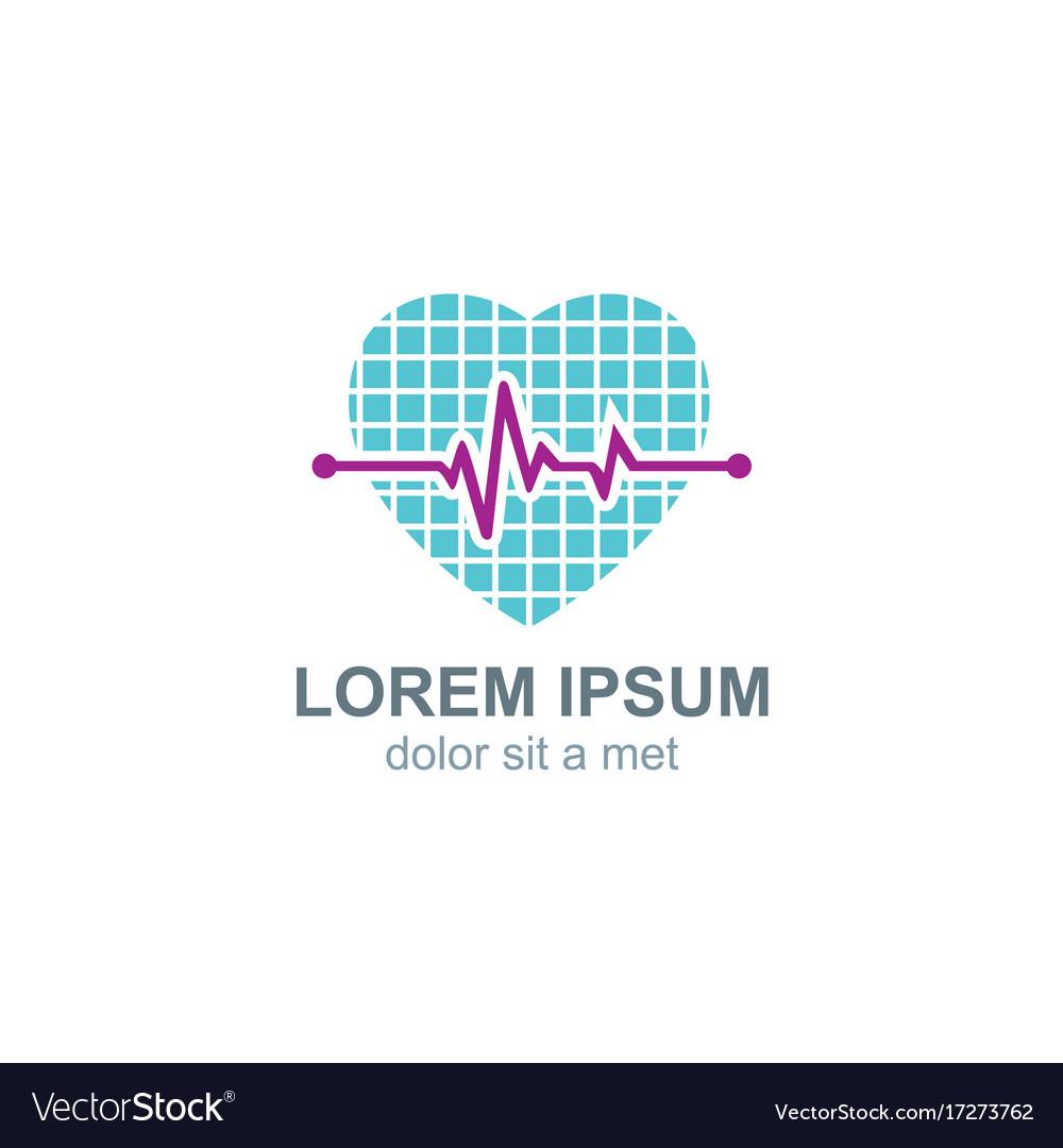 Love heart pulse logo vector image