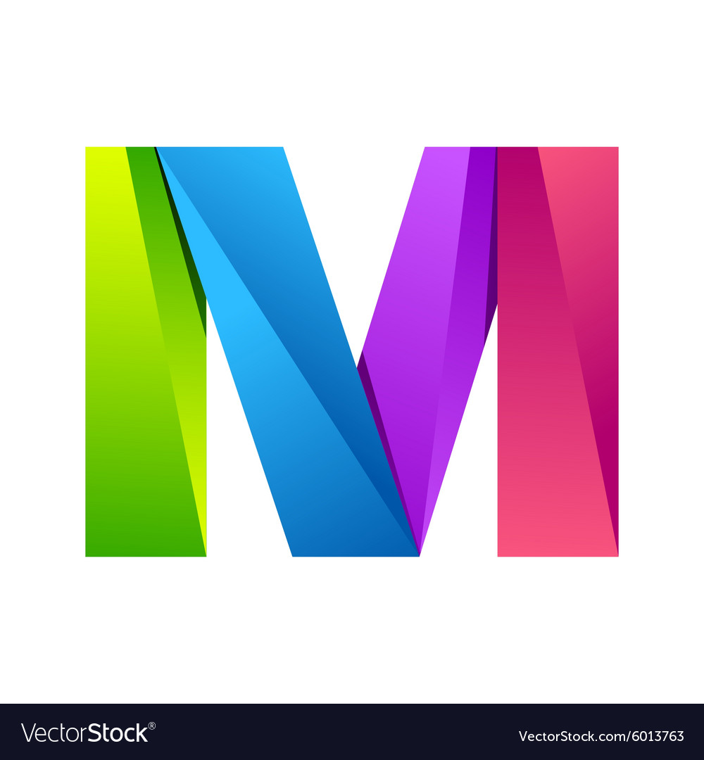 m letter one line colorful logo design template vector image
