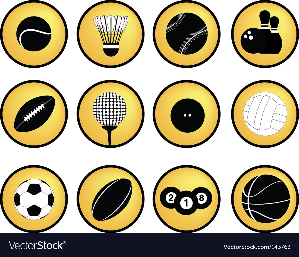 Sports buttons yellow vector image