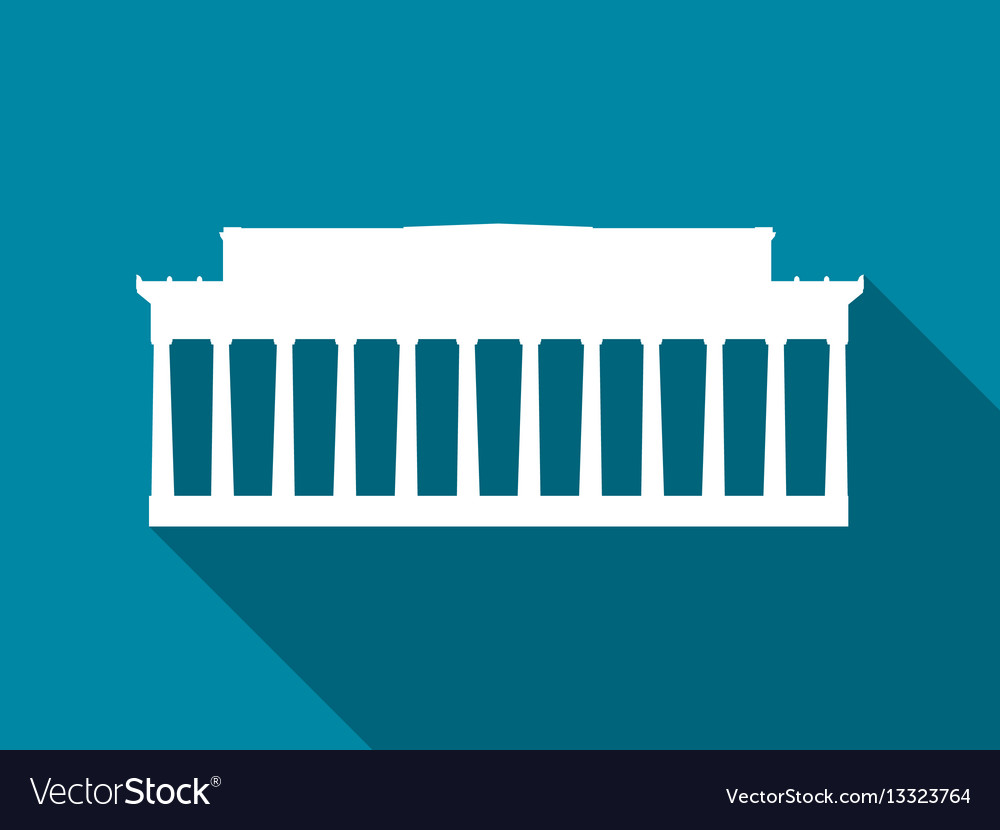 Building with columns flat icon with long vector image