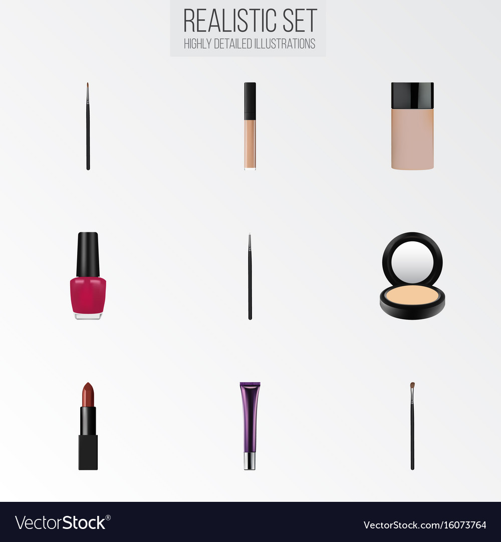 Realistic brush pomade concealer and other vector image