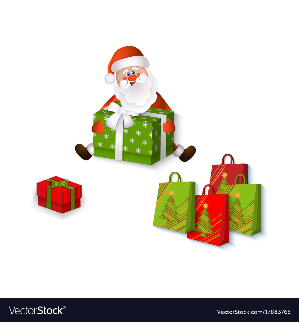 flat santa claus sitting with presents vector image - Santa Claus With Presents