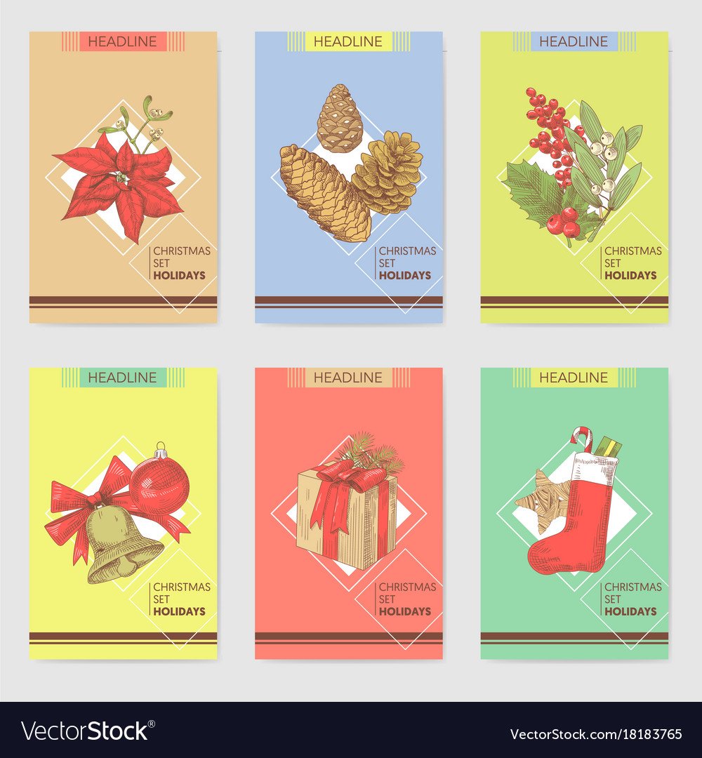 Holly christmas vintage greeting cards templates vector image kristyandbryce Image collections