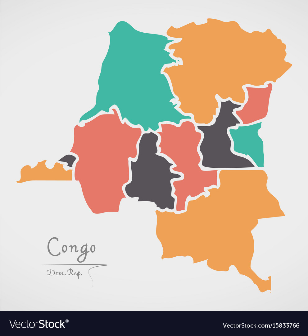 Congo democratic republic map with states vector image