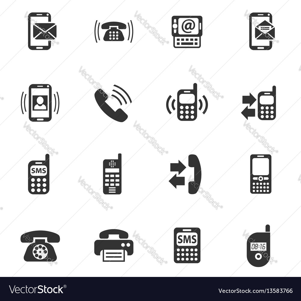 Phone icon set vector image