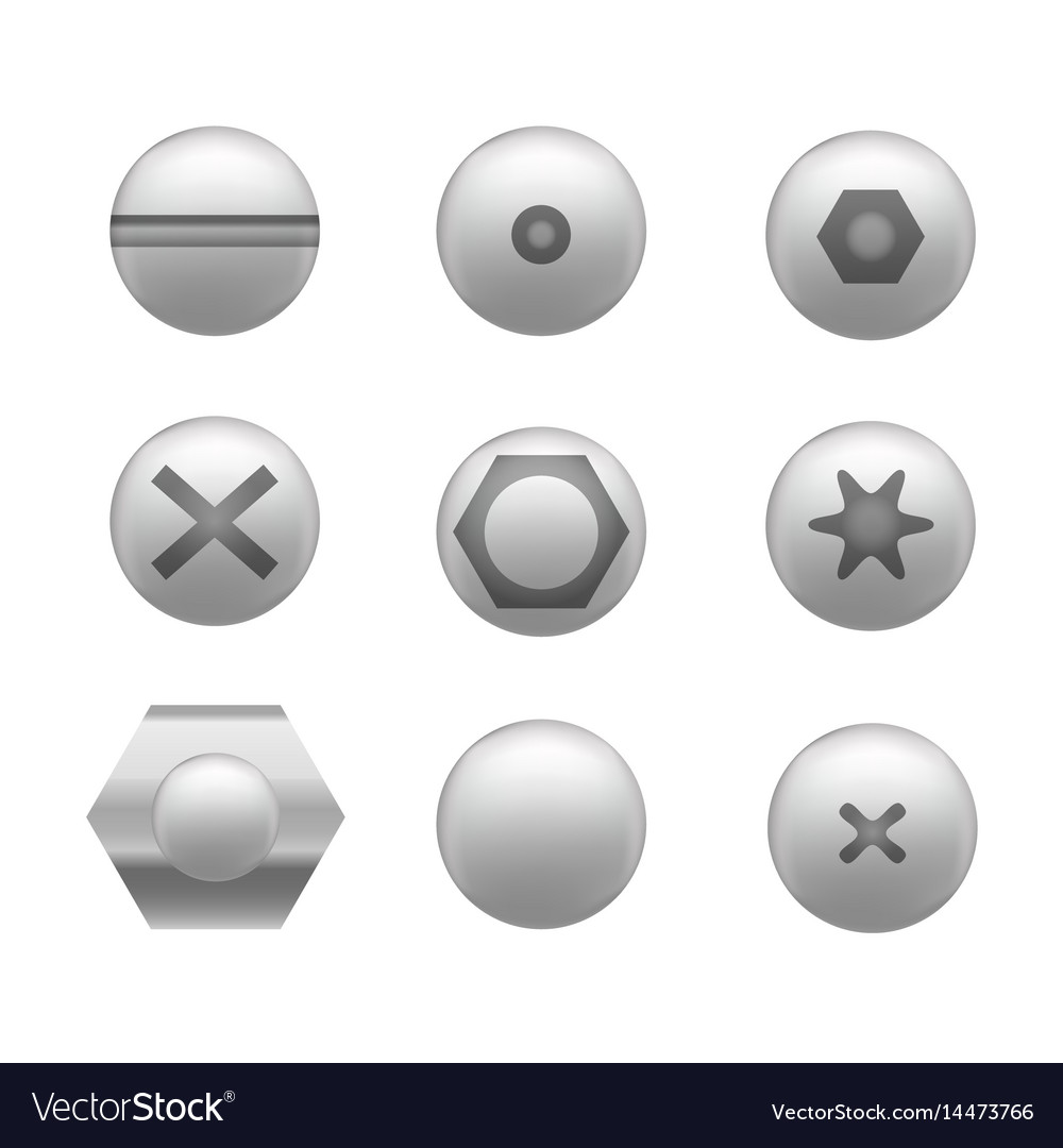 Realistic screw cap icon set different shapes vector image