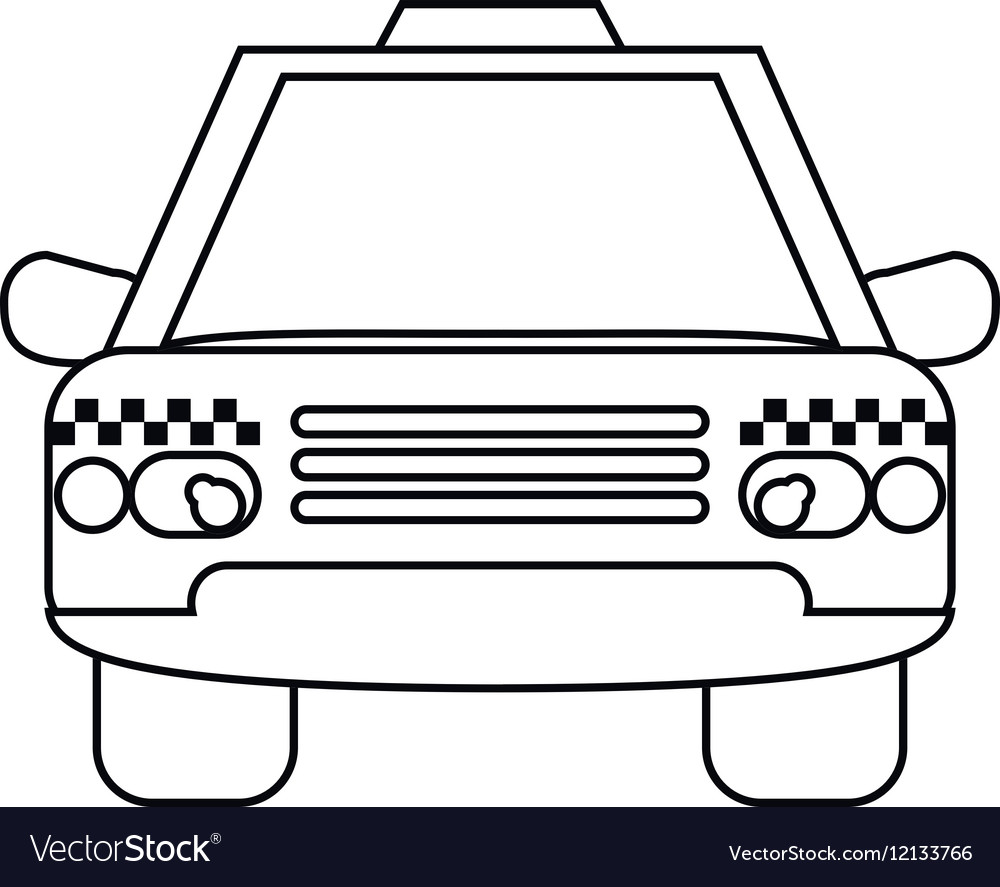 taxi cab car public transport outline royalty free vector