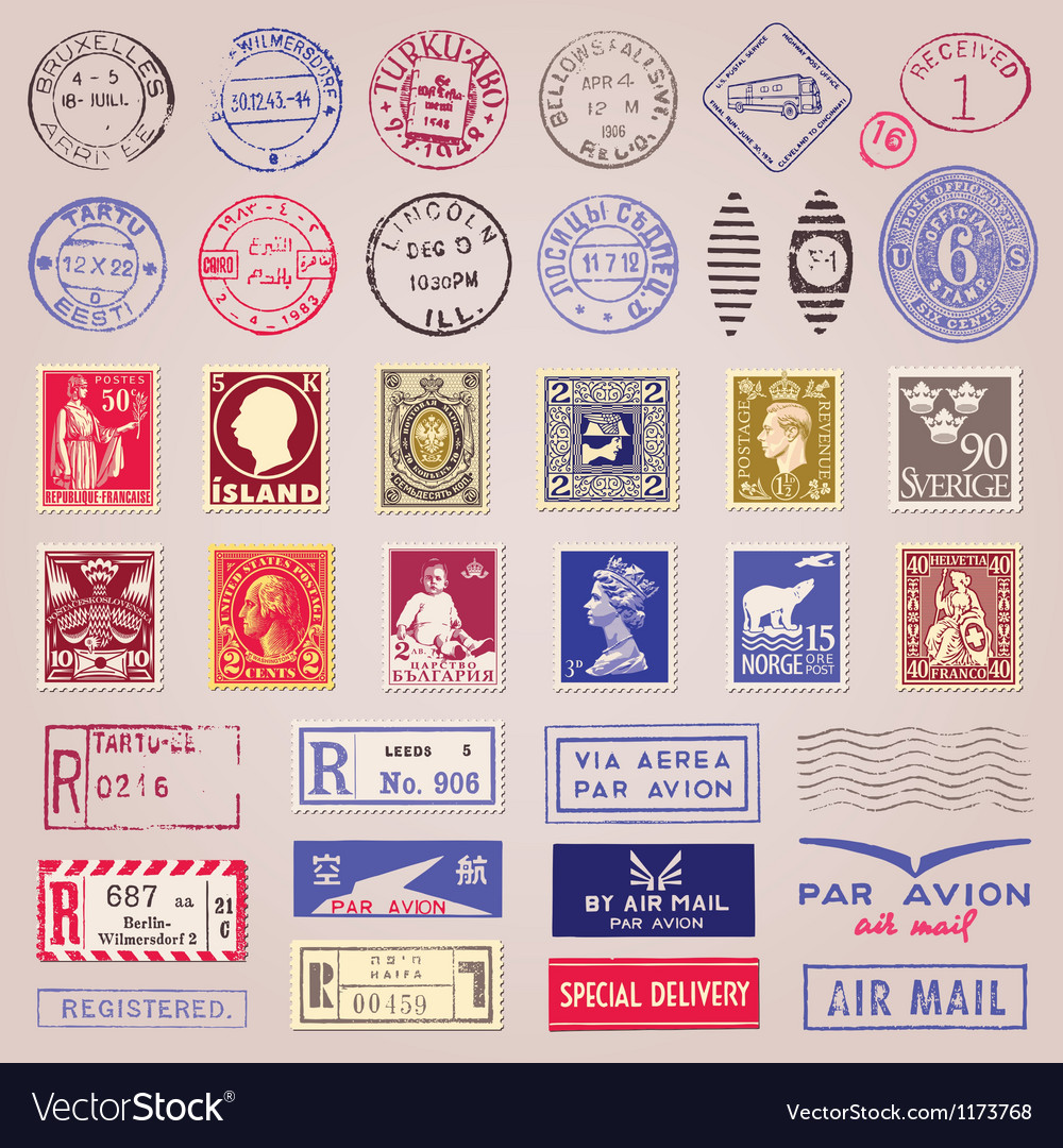 Vintage Postage Stamps Marks And Stickers vector image