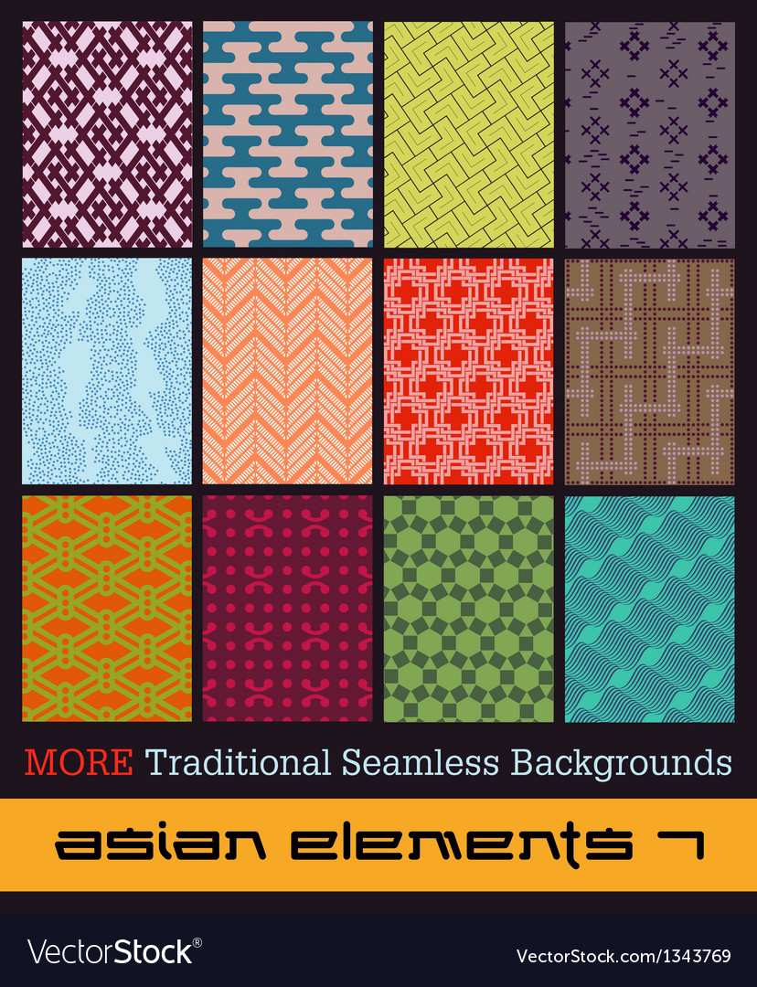 More Traditional Seamless Japanese Backgrounds vector image