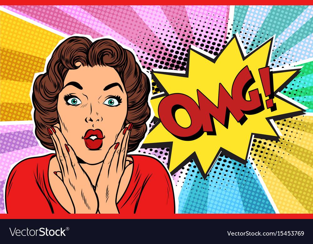 Omg pop art brunette woman vector image