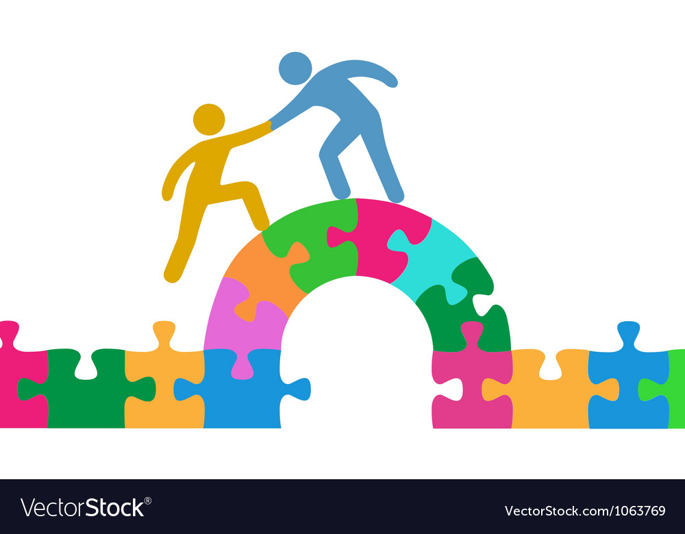 People help join solve bridge puzzle vector image
