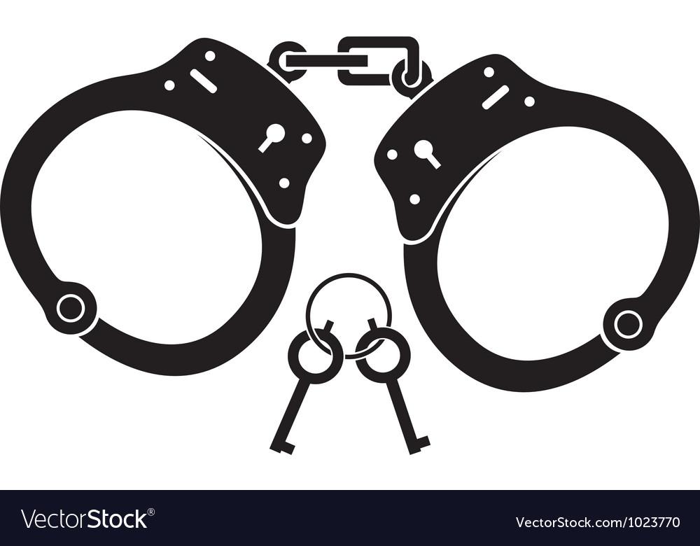 Police handcuffs vector image