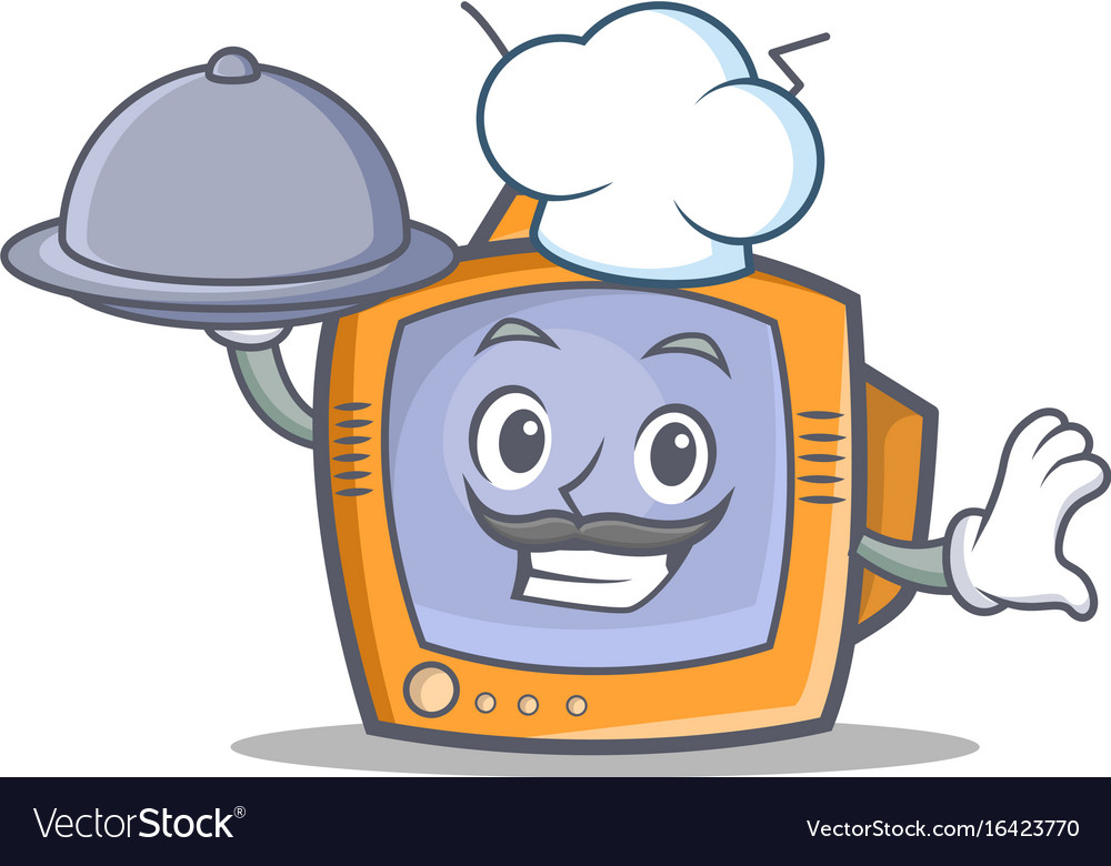 Chef tv character cartoon object with food vector image
