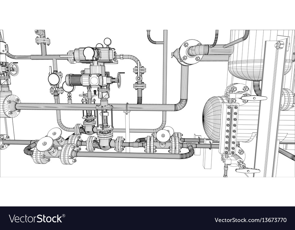 Equipment for heating system vector image